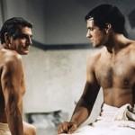 """Laurence Olivier y Tony Curtis en esta controvertida escena de """"Espartaco""""."""